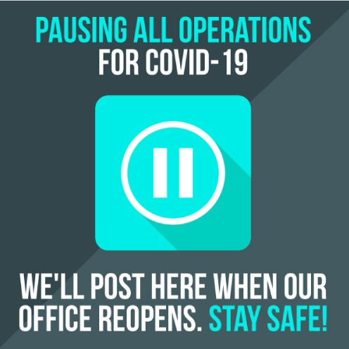 Graphic showing office is closed for COVID-19