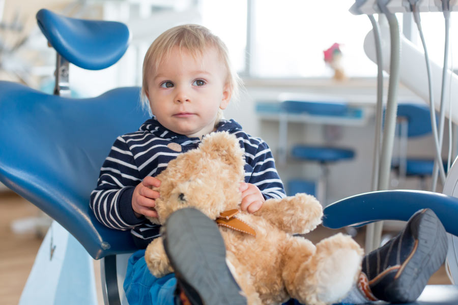 Toddler boy and his teddy bear in the dental chair for his first examination.