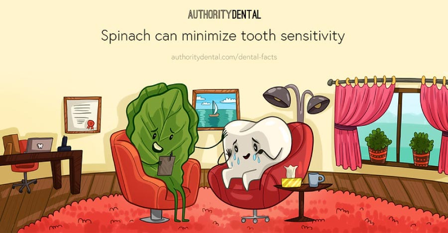 Cartoon showing a tooth in a chair talking to a spinach leaf and a sign saying that spinach helps with tooth sensitivity.