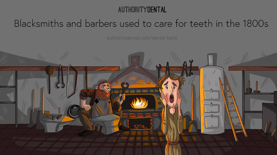 Cartoon of an old blacksmith's shop and a frightened man needing dental work.